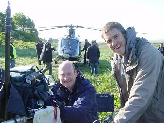 Production Sound Mixer David Hall. Filming the Outsiders with guest helicopter.