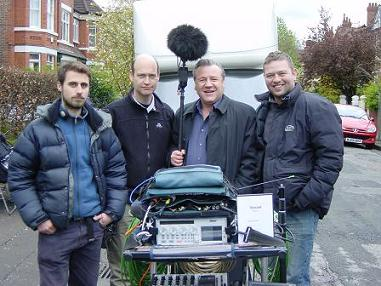 Ray Winstone with Production Sound Mixer David Hall. Filming Vincent in Manchester. Deva IV in foreground.